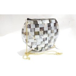 Hand Bag Brown and Silver texture Sea Shell Coated Clutches