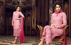 Baby Pink Georgette Semi Stitched Suit
