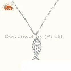 Fish Design 925 Sterling Fine Plain Silver Womens Chain Pendant