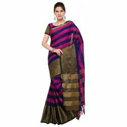 Pink & Navy Blue Colored Poly Silk Casual Printed Saree