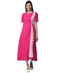 Women Pink Solid A-Line Cotton Kurta