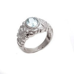 Aquamarine Oval Shape 925 Sterling Silver Fine Royal Look Mens Rings