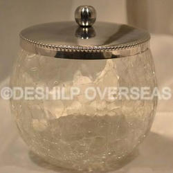 Clear Deshilp Overseas Crackle Soap Dish, Size: Height = 9 Cm Dia = 11 Cm, Shape: Round
