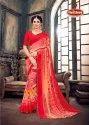 Georgette Printed Bordered Saree - Star Girl