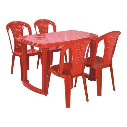 Red Plastic Table Chair Set Rs 2400 Set Hanumant