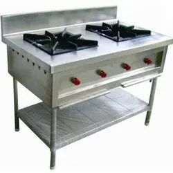 Silver Rectangular Stainless Steel Two Burner Stove