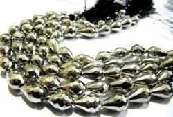 Natural Silver Pyrite Stright Drilled Briolette Tear drop shape Beads 8x13mm  Strand 8 inch Long