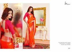 Orange Color Art Pattu Silk Saree