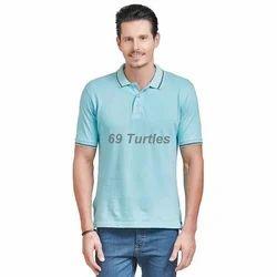 Men's Cotton Sea Blue T Shirt, Size: S to XL