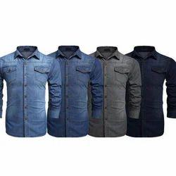 Mens Denim Full Sleeves Plain Shirt