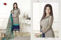 Embroidered Round Neck Suhati Salwar Suit Fabric