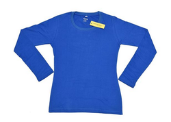 Blue 100 % Cotton 180 Gsm Namakool Plain Women's Full Sleeve T Shirt