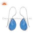 Designer Sterling Fine Silver Blue Chalcedony Hook Earrings Supplier