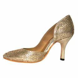 Women Golden Trendy Pump Heels Sandals