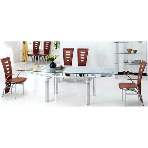 Silver Glass Stainless Steel Dining Table Set, Rs 25000 /set | ID ...