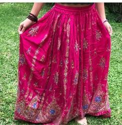 Rayon Pink Embroidered Skirt
