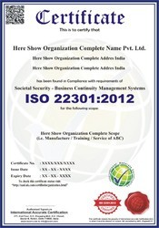 ISO 22301:2012 Certification and Consultancy Service