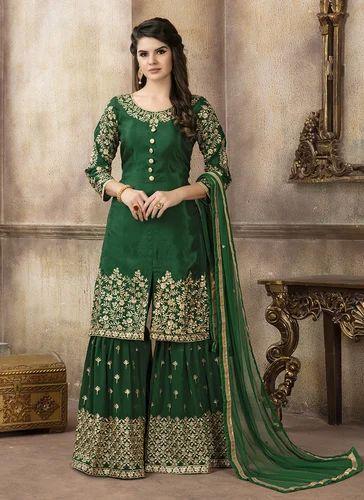 91fcac1d7b Kesari Exports Green Exclusive Designs Upada Silk Sharara Salwar Suit