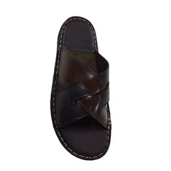 Black And Brown Mens Designer Leather Slippers