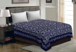 Saavra Blue Colored Multicut Work Cotton Double Bedsheet