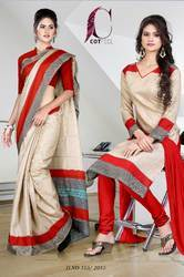 Red and Golden Italian Crepe Uniform Saree Kurti Combo