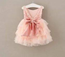 Rashal Enterprises Baby Wear Peach Ruffle Frock