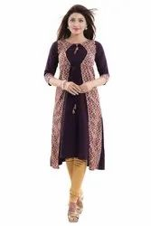 Wine Double Layered Crepe Kurti