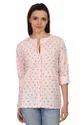 Cotton Bird Print Pink Ladies Shirt