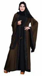 Women's Nida Plain Long Sleeves Jacket Style Abaya Burka with Hijab Scarf