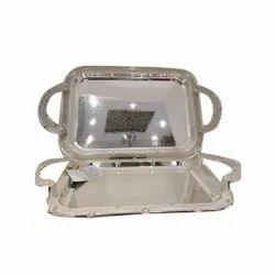 Stainless Steel Designer Serving Tray, Packaging Type: Box, Thickness: 6-8 mm