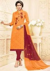 Golden Yellow Embroidered Cotton Churidar Kameez