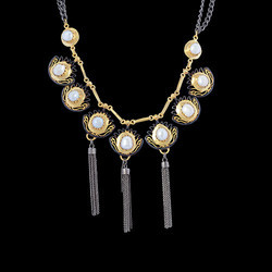 Gold Plated Pearl Gemstone With Tassel Design Necklace For Women