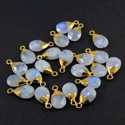 Rainbow Moonstone Electroplated Gold Pendant