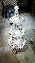 Three Tier Marble Fountain Inlay Work