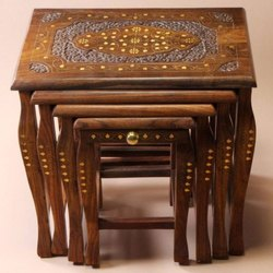 Brown Rectangular Wooden Handicraft Nested Table