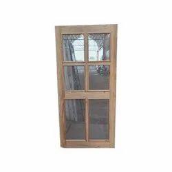 Pine Wood Door with Aluminium Jali for Home
