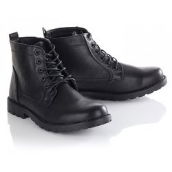 Mens Black Leather Combat Army Boots