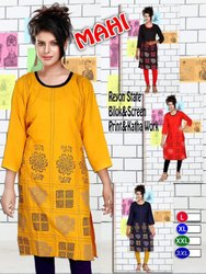 Rayon Straight Block and Screen Printed & Kantha Work Kurti