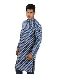 Ethnic Wear Men's Hand Block Printed Indigo Full Sleeve Cotton Knee Length Kurta
