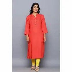 Casual Wear Straight Ladies Red Rayon Kurti
