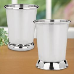 Mint Julep Recipe Cups With Silver Finish Set Of Two