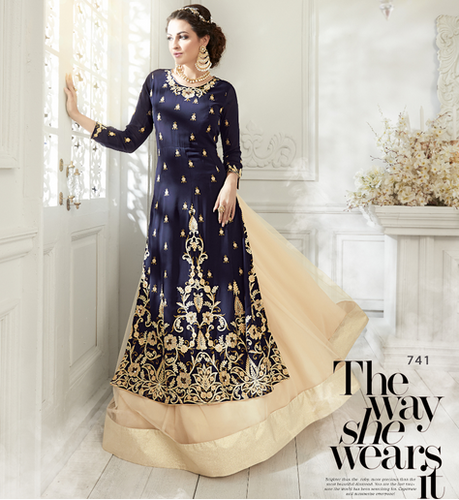 Navy Blue Gown Shahbeez Indo Western Gown Rs 1290 Piece Id