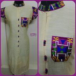 Half Sleeve Embroidered Khadi and Chanderi Kurti