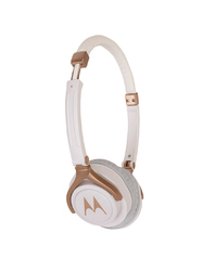 Motorola White & Gold-Toned Wired Pulse 3 Over-Ear Headphone