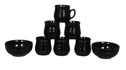 Black Ceramic 6 Coffee Tea Cup with 2 Snacks Bowl Set of 8 for Home Kitchen
