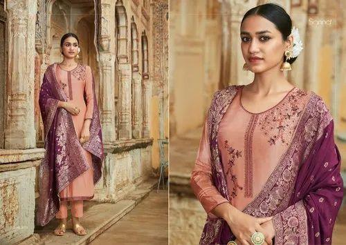Sanna Fashion Silk Jacquard Embroidery Work Silk Suit