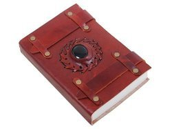 Handmade Leather Journals, Vintage Leather Diaries with Stone