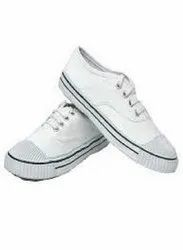 Shyamjee Black And White PT School Shoes, Size: 3-7 Number
