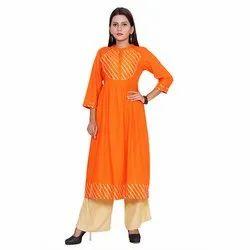 Designer Orange Rayon Kurti