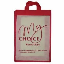 Red And Beige Printed Non Woven Carry Bag, For Shopping